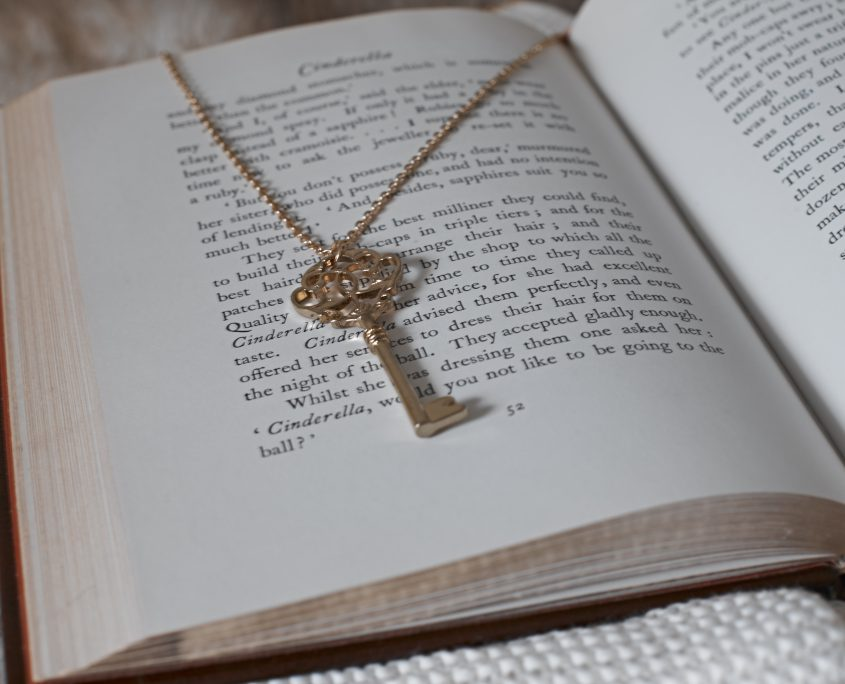 Leatherbound, Book, Literature, Jewelry, SkeletonKey, Gold, Cinderella, Necklace, Key, Chain, GoldChain, GoldNecklace